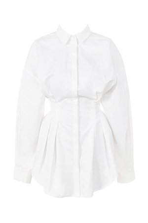 House of CB | Maddalena White Cinched Waist Shirt Dress