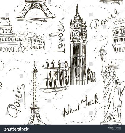 Image vectorielle de stock de Sketch Seamless Pattern Big Ben Eiffel 196941800