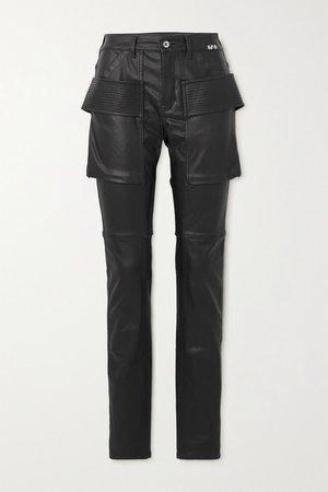 High-rise Skinny Coated-denim Jeans - Black