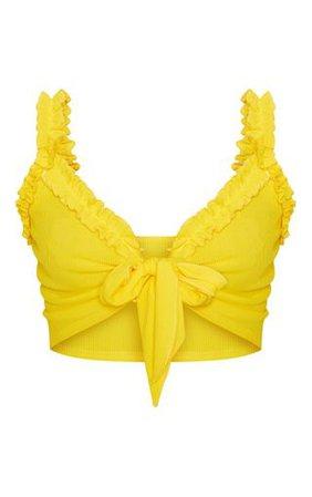 Yellow Rib Ruffle Detail Bralet   Tops   PrettyLittleThing