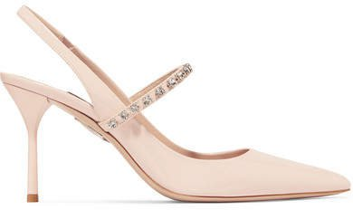 Crystal-embellished Patent-leather Slingback Pumps - Baby pink