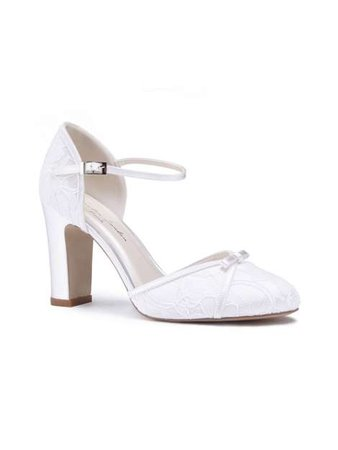 Paradox London Pink Candia High Block Heel Lace Court Shoes - House of Fraser
