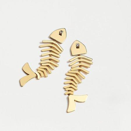 J.Crew: Gold Fish Bone Statement Earrings With Gem Detail