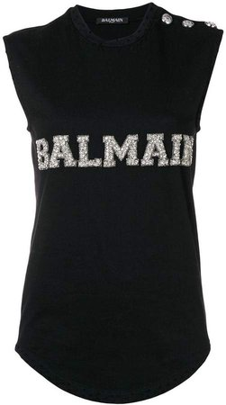 logo embroidered tank top