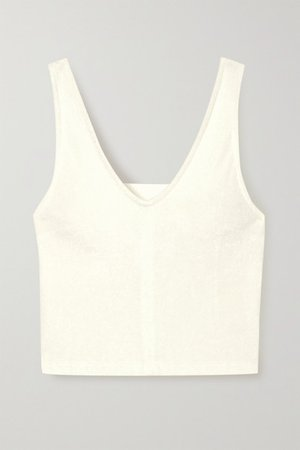 Coco Cropped Terry Tank - White