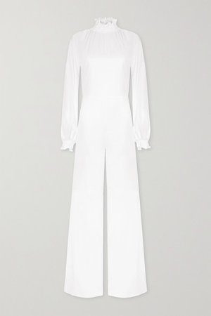 Mary Ruffled Satin Jumpsuit - Off-white