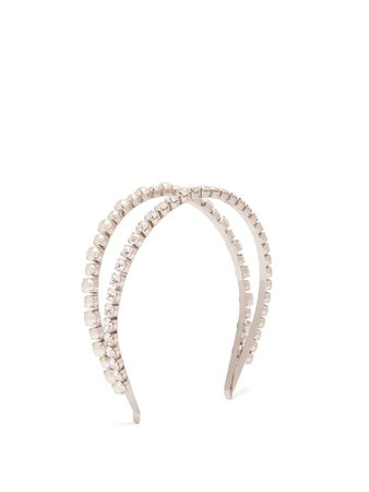 Crystal and faux pearl-embellished headband | Miu Miu | MATCHESFASHION.COM