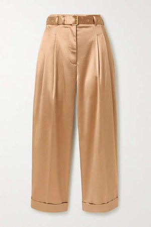 Cropped Belted Satin Wide-leg Pants - Sand