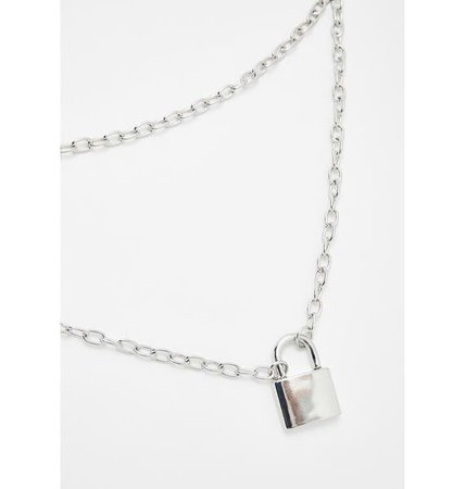 Silver Layered Lock Necklace   Dolls Kill
