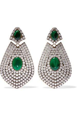 Balenciaga   Boucles d'oreilles clip en métal doré, résine et cristaux   NET-A-PORTER.COM