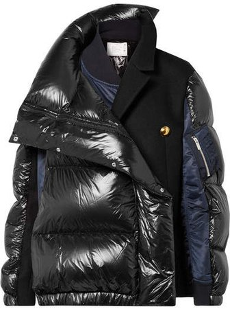 Oversized Wool-paneled Quilted Shell Down Coat - Black