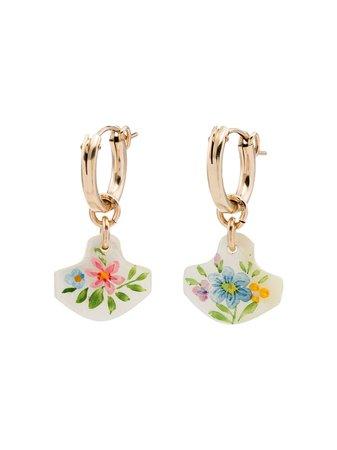 Brinker & Eliza Gold Plated Wildflower Drop Hoop Earrings | Farfetch.com