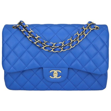 CHANEL Double Flap Jumbo Bag Blue Lambskin with Light Gold Hardware 2016 For Sale at 1stdibs