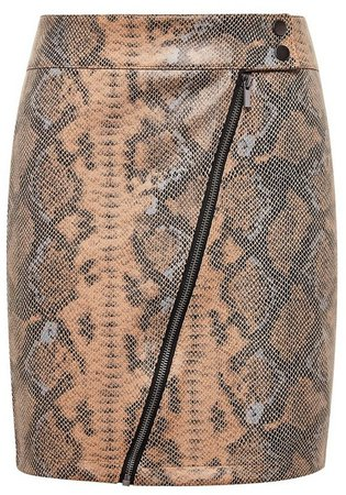 **Vila Multi Colour Snake Print Zip Detail Mini Skirt