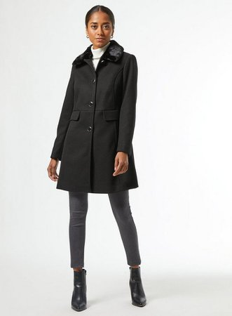 DP Petite Black Dolly Coat | Dorothy Perkins