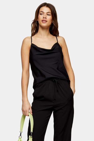 Black Plain Cowl Cami