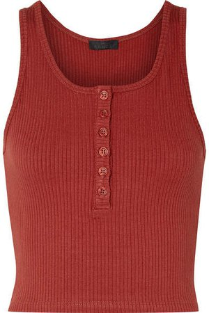 The Range - Alloy Cropped Ribbed Stretch-knit Tank - Brick