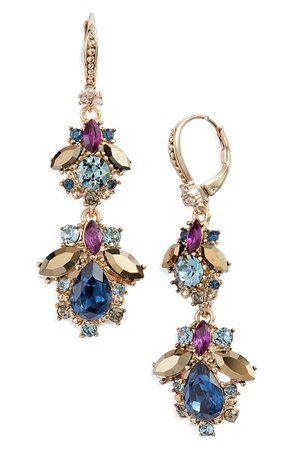 Marchesa Crystal Cluster Double Drop Earrings | Nordstrom