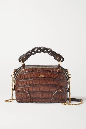 Dark brown Daria mini croc-effect leather shoulder bag | Chloé | NET-A-PORTER
