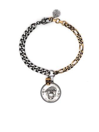 Alexander McQueen two-tone Skull Charm Bracelet - Farfetch