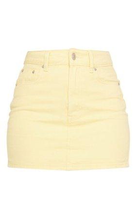 Lemon Denim Mini Skirt | Denim | PrettyLittleThing