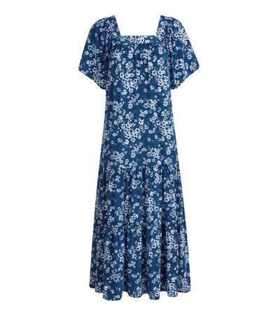 Blue Vanilla Blue Floral Square Neck Midi Dress | New Look