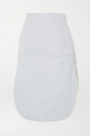 Cotton-blend Twill Midi Skirt - Gray