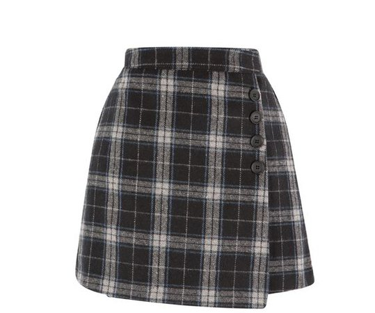 Grey, White & Blue Plaid Skirt