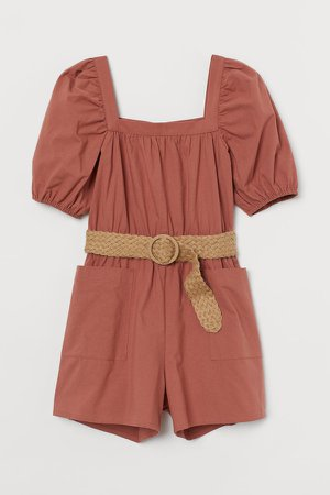 Belted Romper - Orange