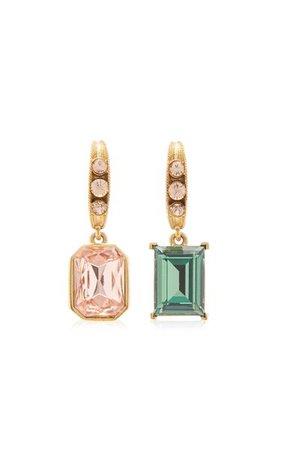 Asymmetric 18k Gold-Plated Brass Crystal Earrings By Oscar De La Renta | Moda Operandi
