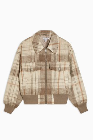 Tan Check Bomber Jacket With Wool | Topshop