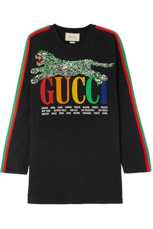 Gucci | Sequined printed cotton-jersey T-shirt | NET-A-PORTER.COM