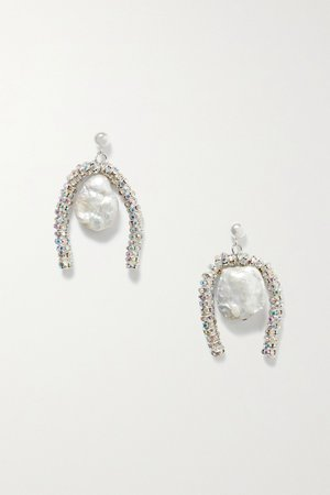 Silver Baroque Paris silver-plated, crystal and pearl earrings | PEARL OCTOPUSS.Y | NET-A-PORTER