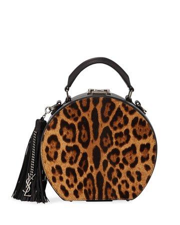Saint Laurent Mica Small Leopard Hatbox Crossbody Bag