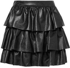 Anika Tiered Faux Leather Mini Skirt