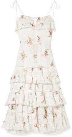 Heathers Lace-trimmed Tiered Pintucked Floral-print Cotton-voile Dress - White