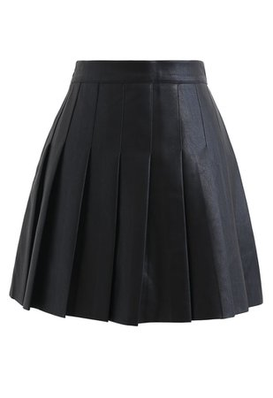 Pleated Faux Leather Mini Skirt in Black - Retro, Indie and Unique Fashion
