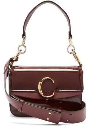 The C Patent Leather Shoulder Bag - Womens - Brown