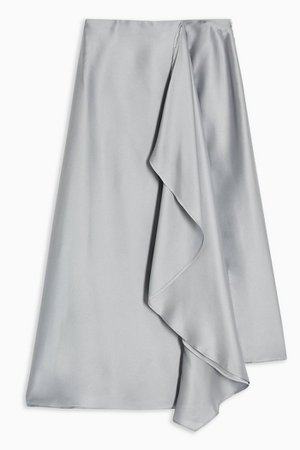 **Grey Frill Midi Skirt by Topshop Boutique | Topshop