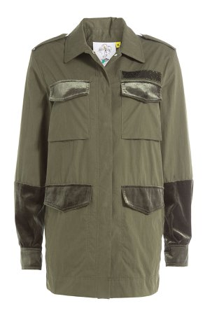 Cotton Parka with Velvet and Embroidery Gr. XS