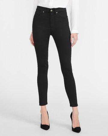 High Waisted Luxe Polished Black Skinny Jeans