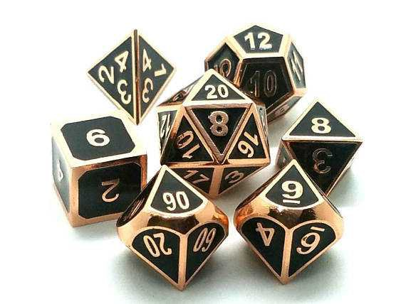 DND Dice Set: Copper Dice Pathfinder Dice metal dice set of