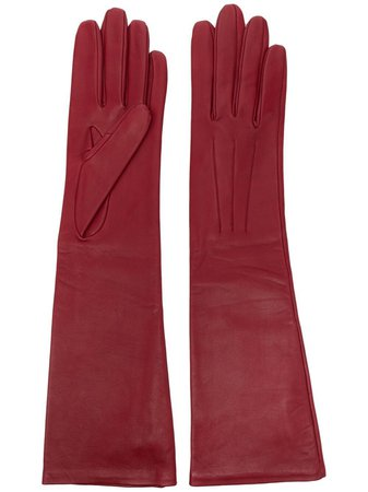 Shop red LANVIN long leather gloves with Afterpay - Farfetch Australia