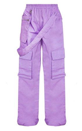 Lilac Zip Pocket Detail Wide Leg Cargo Trousers | PrettyLittleThing