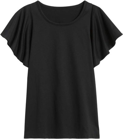 SUPIMA Cotton Flutter-Sleeve Top