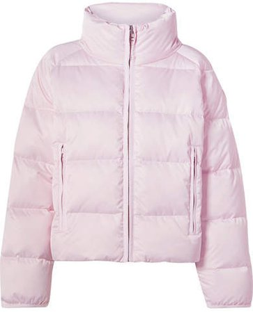 Cropped Quilted Shell Down Jacket - Pastel pink