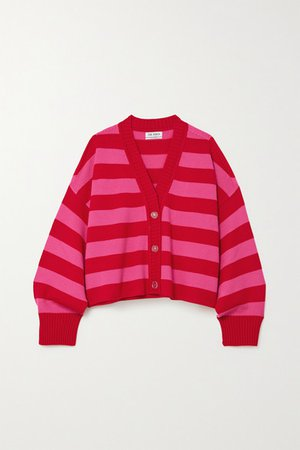 Striped Merino Wool Cardigan - Green