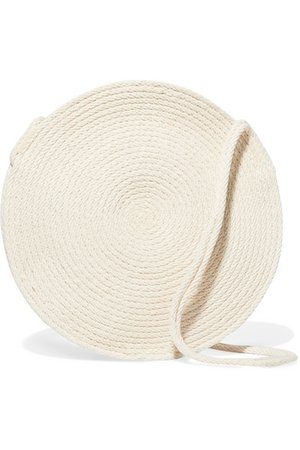 Circle small woven cotton shoulder bag