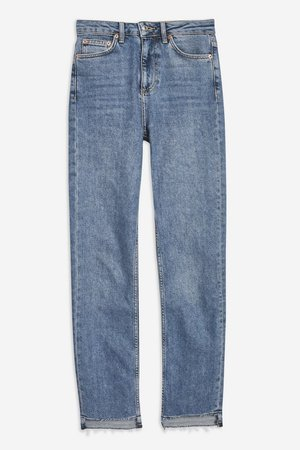 Mid Blue Step Hem Straight Jeans - Shop All Jeans - Jeans - Topshop