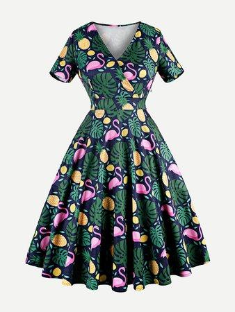 Pineappple Print Wrap Dress